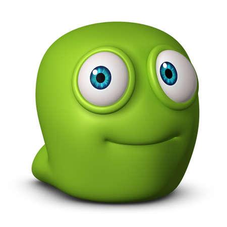 gusanos: Dibujos animados lindo 3d gusano
