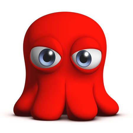 3d cartoon cute octopus Stock Photo - 15732013