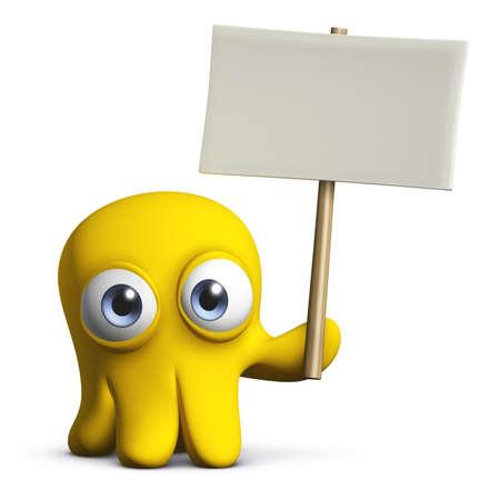 3d cartoon cute octopus holding blank