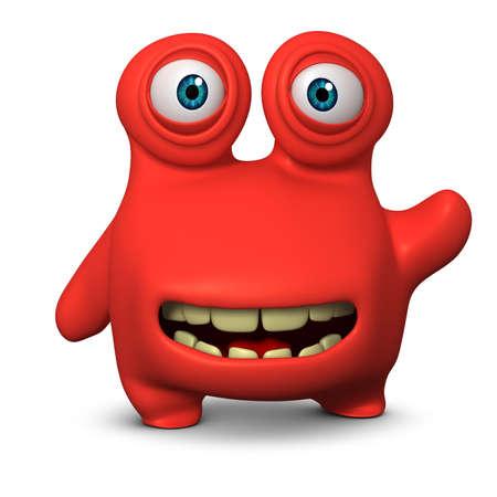 unicellular: 3d verme cute cartoon
