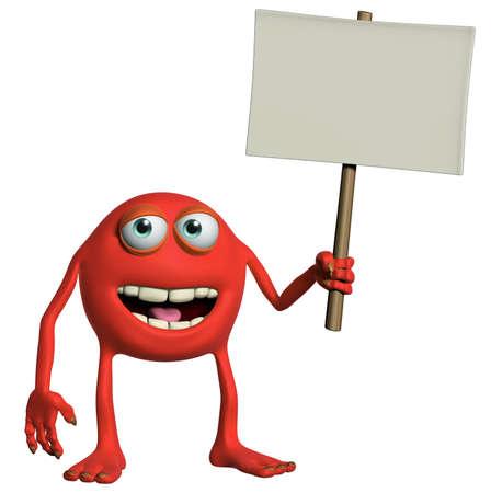 holding blank sign: halloween monster holding emty placard