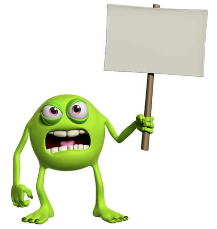 halloween monster holding emty placard photo