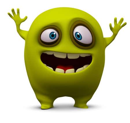 unicellular: 3d cartoon cute alien