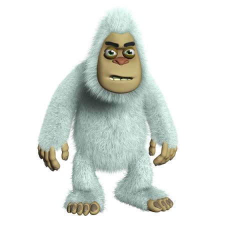 bigfoot: 3d cartoon white monster