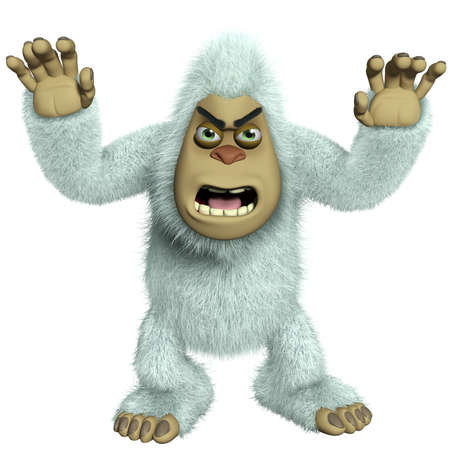 yeti: cartoon horror white yeti Stock Photo