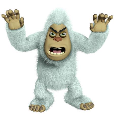 bigfoot: cartoon horror white yeti Stock Photo
