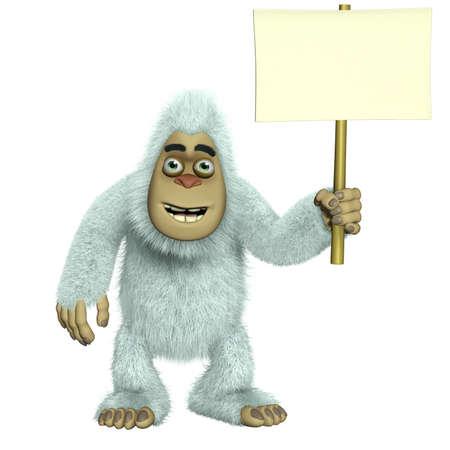 yeti: Wei�er Yeti holding blank Lizenzfreie Bilder
