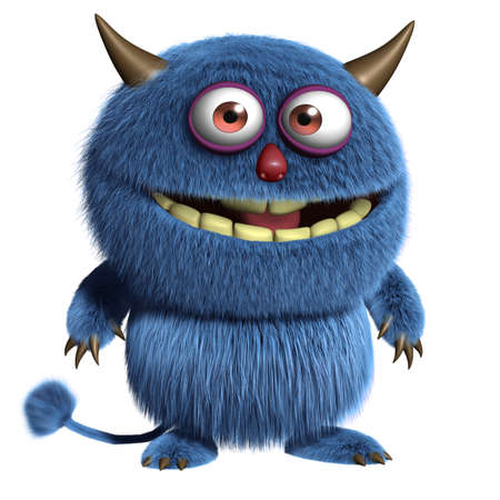 funny monster: 3d cartoon blue furry alien