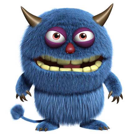 yeti: 3d cartoon blauen pelzigen alien