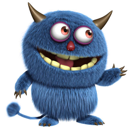 yeti: 3d cartoon blue furry alien