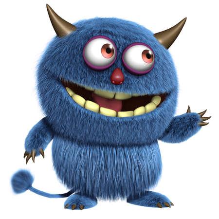3d cartoon blue furry alien