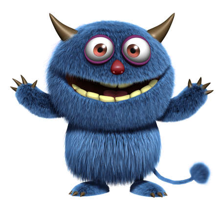 hairy adorable: blue furry monster