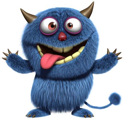 dientes caricatura: azul diablo peludo Foto de archivo