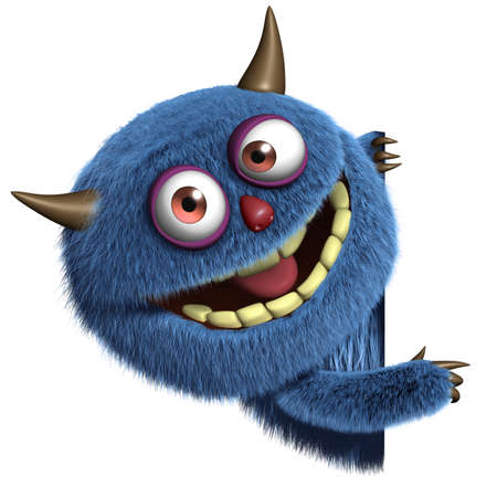 monster teeth: 3d cartoon blue furry alien