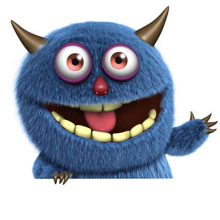 ojos caricatura: monstruo peludo azul Foto de archivo