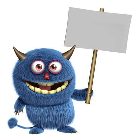 3d cartoon blue furry alien holding placard Imagens