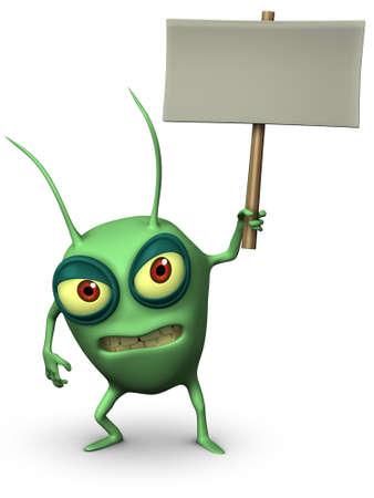 germ: 3d cartoon cute germ holding placard Stock Photo