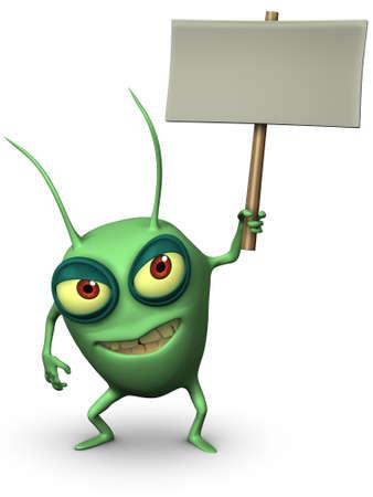 computer bug: 3d cartoon cute computer bug holding placard