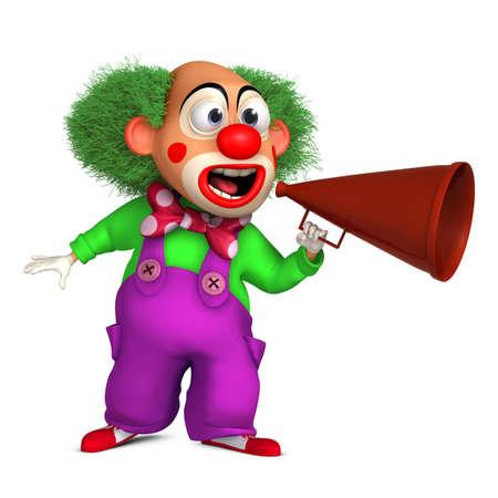 loudhailer: 3d cartoon clown with megaphone Stock Photo