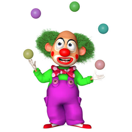 frizzy: 3d cartoon clown with balls