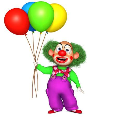 3d cartoon clown with baloons photo