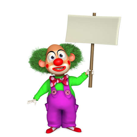 payasos caricatura: 3d cartoon clown holding placard