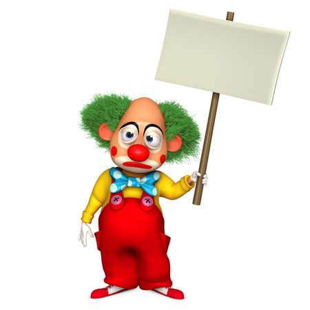 payasos caricatura: clown holding PLACART