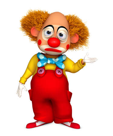 happy and sad: 3d cartoon clown