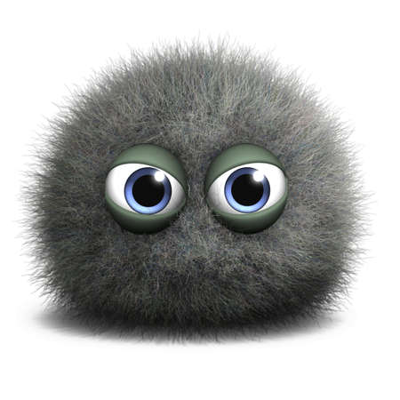 hairy adorable: 3d cartoon cute freak Stock Photo