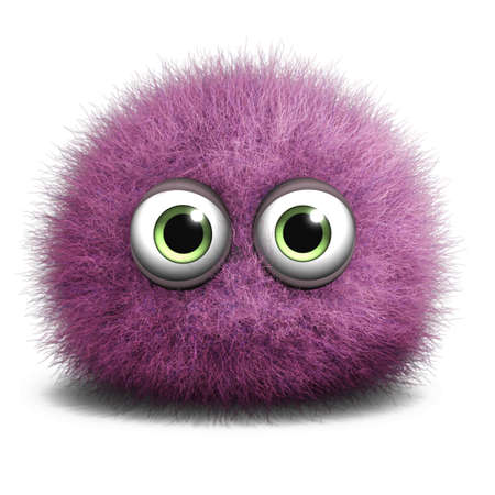 fluff: Dibujos animados 3d lindo monstruo Foto de archivo
