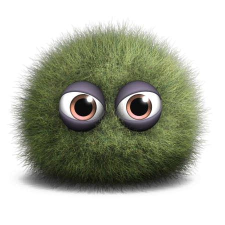 pelota caricatura: Dibujos animados 3d monstruo peludo Foto de archivo