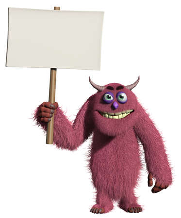 3d cartoon furry cute monster holding placard Stock Photo - 15743352