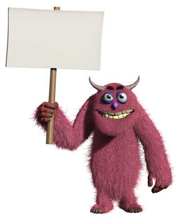 3d cartoon furry cute monster holding placard Stock Photo - 15743352