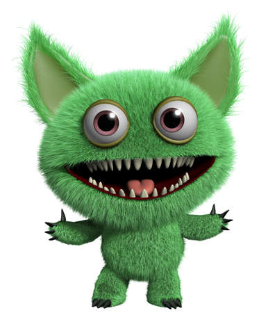 abominable: 3d cartoon furry cute freak Stock Photo