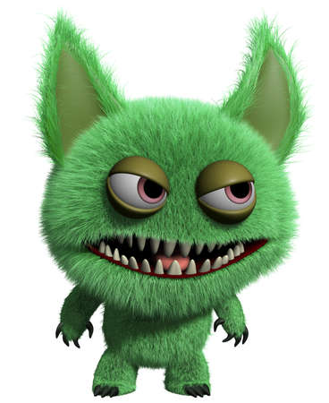 3d cartoon cute furry gremlin monster Imagens - 15743591