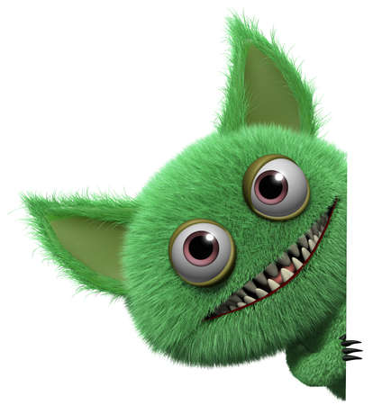 3d cartoon cute furry gremlin monster Imagens - 15743536