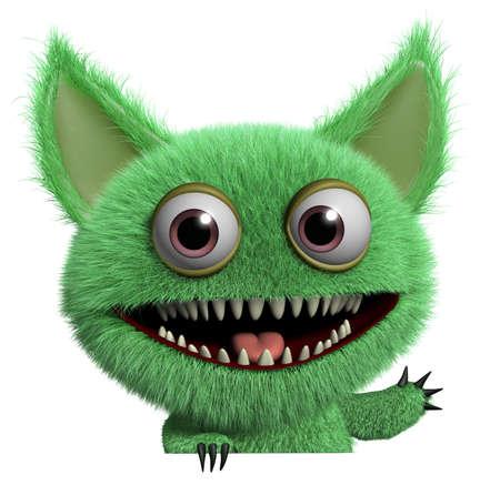 부드러운 털의: 3D 만화 귀여운 모피 놈아 괴물 스톡 사진