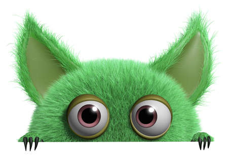 3d cartoon cute furry gremlin monster