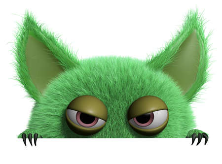 3d cartoon schattige harige gremlin monster Stockfoto