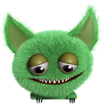 3d cartoon cute furry gremlin monster Stock Photo - 15743640