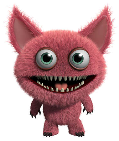3d cartoon cute furry gremlin monster Imagens - 15743573