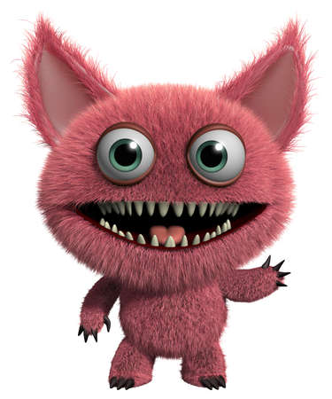 3d cartoon cute furry gremlin monster Stock Photo - 15743576