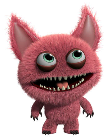 3d cartoon cute furry gremlin monster Stock Photo - 15743534