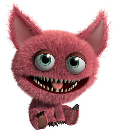 3d cartoon cute furry gremlin monster Imagens - 15743620