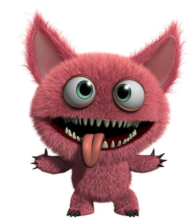 3d cartoon cute furry gremlin monster Stock Photo - 15743568