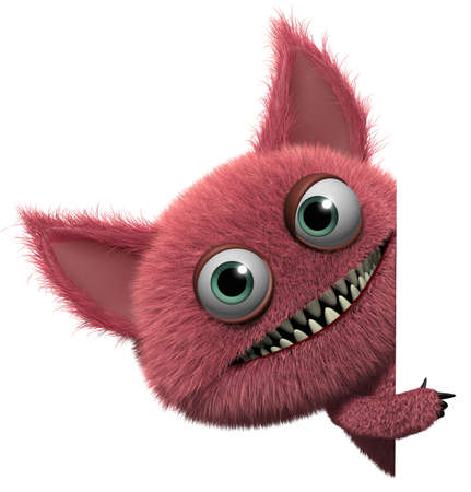 3d cartoon cute furry gremlin monster Stock Photo - 15743530