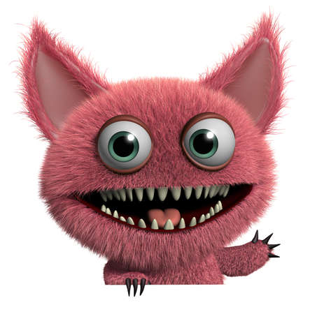 3d cartoon cute furry gremlin monster Stock Photo - 15743616