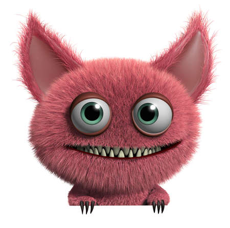 3d cartoon cute furry gremlin monster Stock Photo - 15743628