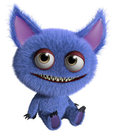 3d cartoon cute furry gremlin monster Imagens - 15743613