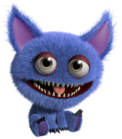 freaky: 3d cartoon cute furry gremlin monster